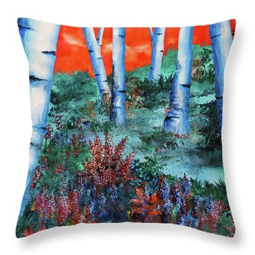 Birch Trees At Sunset Throw Pillow by Curtiss Shaffer