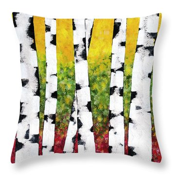 Throw Pillow featuring the mixed media Birch Forest Trees by Christina Rollo