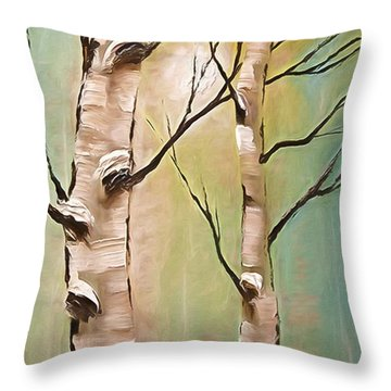 Birch Trees Color Pencil  Throw Pillow by Heinz G Mielke