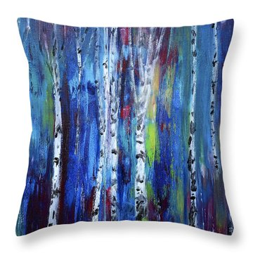 Birch Trees Throw Pillow