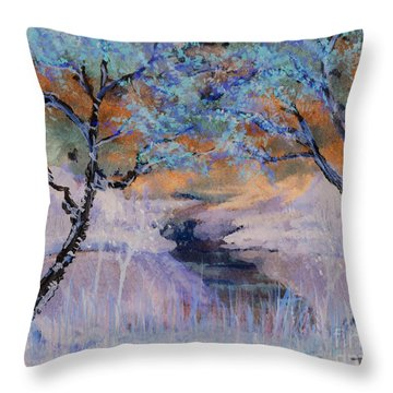 Birch Trees On The Ridge 2 Throw Pillow