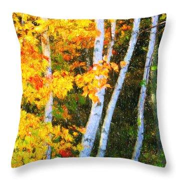 Birch Trees Throw Pillow by Verena Matthew