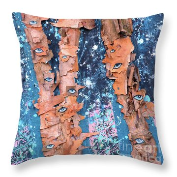 Throw Pillow featuring the mixed media Birch Trees With Eyes by Genevieve Esson