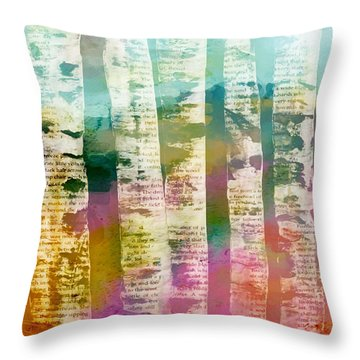 Throw Pillow featuring the mixed media Birch Trees by Lisa Noneman