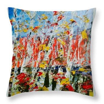 Birch With Foilage - Fall Throw Pillow