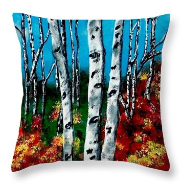 Throw Pillow featuring the painting Birch Woods 2 by Sonya Nancy Capling-Bacle