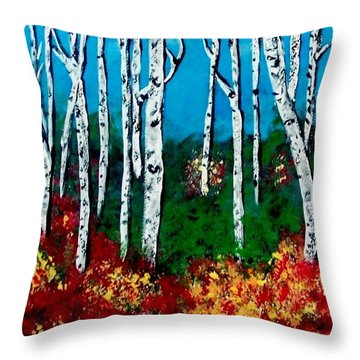 Throw Pillow featuring the painting Birch Woods by Sonya Nancy Capling-Bacle