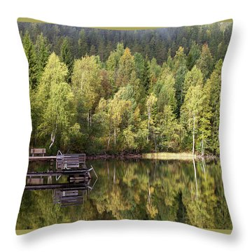 Birches And Reflection  Throw Pillow