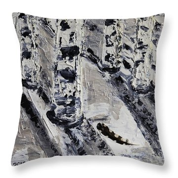 Birches And Snowy Shadows Throw Pillow by Valerie Ornstein