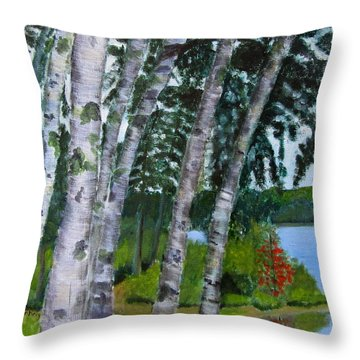 Birches At First Connecticut Lake Throw Pillow