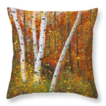 Birches Throw Pillow by Garry McMichael
