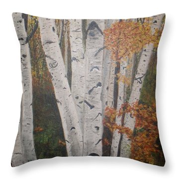 Throw Pillow featuring the painting Birches In Fall by Betty-Anne McDonald
