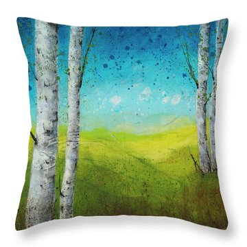 Birches In Green Throw Pillow