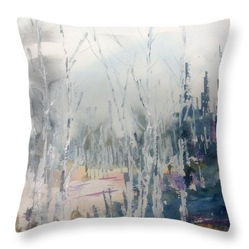 Birches In Haze  Naim's Enchatned Forest Throw Pillow