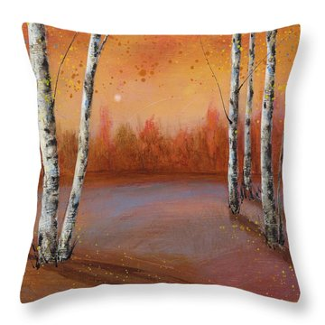 Birches In The Fall Throw Pillow
