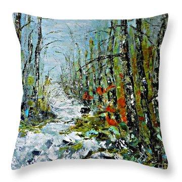 Birches Near Waterfall Throw Pillow by AmaS Art