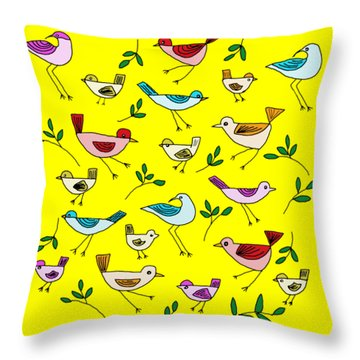 Bird Cluster Throw Pillow by Priscilla Wolfe