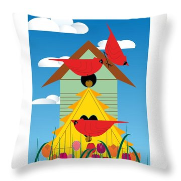 Bird Condo Throw Pillow