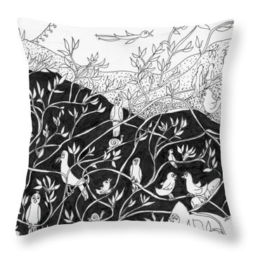 Throw Pillow featuring the painting Bird Convention by Lou Belcher