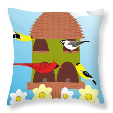 Bird Feeder Throw Pillow