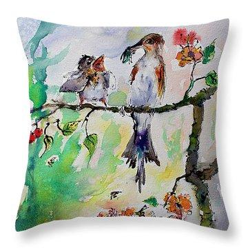 Bird Feeding Baby Watercolor Throw Pillow