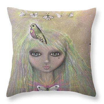Bird From Spirit World  Throw Pillow
