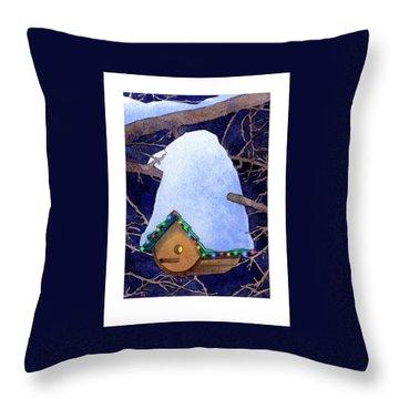 Bird House Christmas Throw Pillow