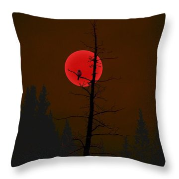 Throw Pillow featuring the digital art Bird In A Tree by Stuart Turnbull