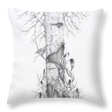 Bird In Birch Tree Throw Pillow