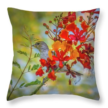 Bird In Bush Throw Pillow
