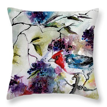 Throw Pillow featuring the painting Bird In Elderberry Bush Watercolor by Ginette Callaway
