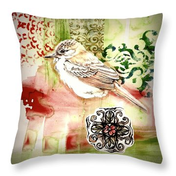 Throw Pillow featuring the mixed media Bird Love by Rose Legge