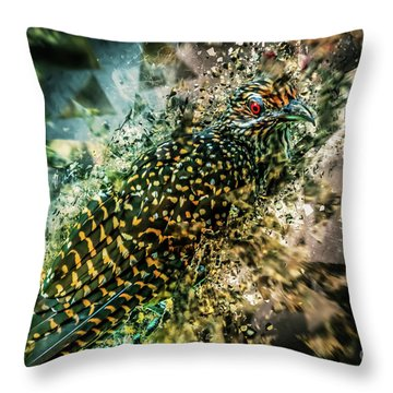 Bird Meets Glass Throw Pillow