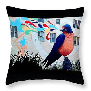 San Francisco Blue Bird Painting Mural In California Throw Pillow