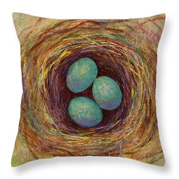 Bird Nest Throw Pillow by Hailey E Herrera