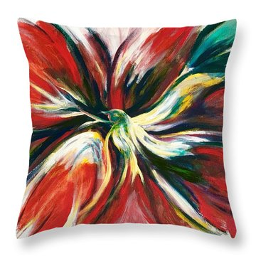 Throw Pillow featuring the painting Bird Of Haven by Laila Awad Jamaleldin