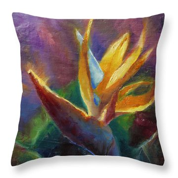Throw Pillow featuring the painting Bird Of Paradise - Tropical Hawaiian Flowers by Karen Whitworth