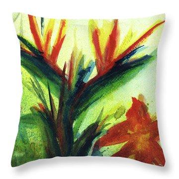 Bird Of Paradise, #177 Throw Pillow by Donald k Hall
