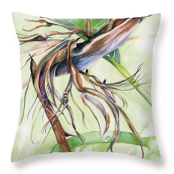 Bird Of Paradise, A Faded Beauty Throw Pillow