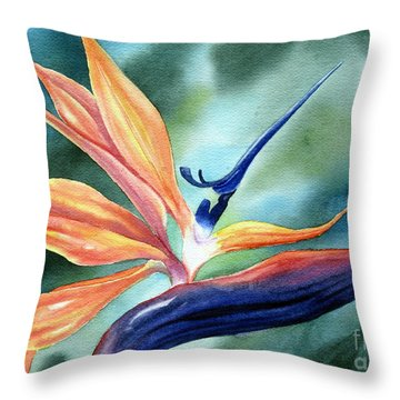 Bird Of Paradise Throw Pillow by Deborah Ronglien