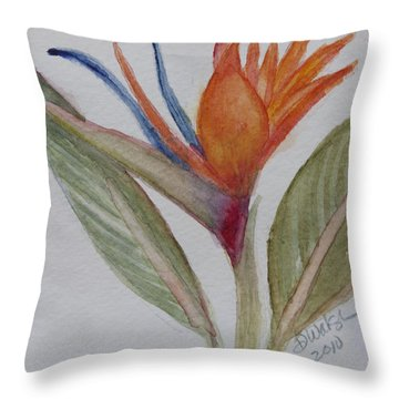Throw Pillow featuring the painting Bird Of Paradise by Donna Walsh