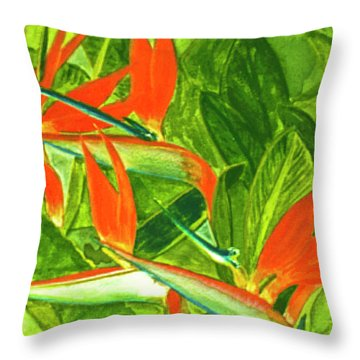 Bird Of Paradise Flower #55 Throw Pillow by Donald k Hall