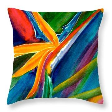 Bird Of Paradise Flower #66 Throw Pillow by Donald k Hall