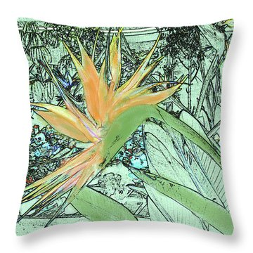 Throw Pillow featuring the photograph Bird Of Paradise In The Hothouse by Nareeta Martin