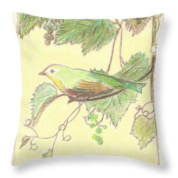 Bird On A Branch Throw Pillow