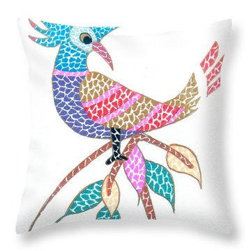 Bird On A Branch Throw Pillow