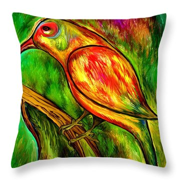 Bird On A Branch Throw Pillow by Rafi Talby