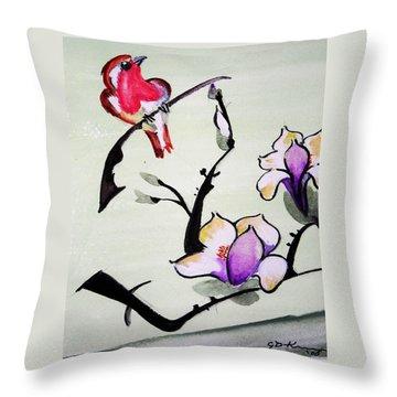 Bird On A Stem Throw Pillow