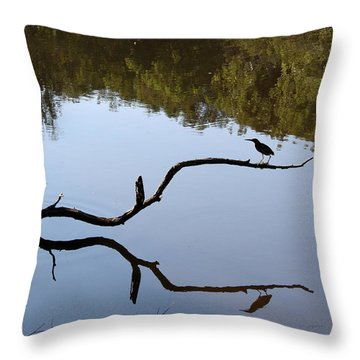 Bird On Branch Silhouette Throw Pillow by Ellen Tully
