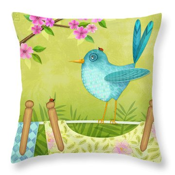 Bird On Clothesline Throw Pillow